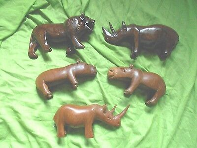 a vintage set of 5 wooden animals
