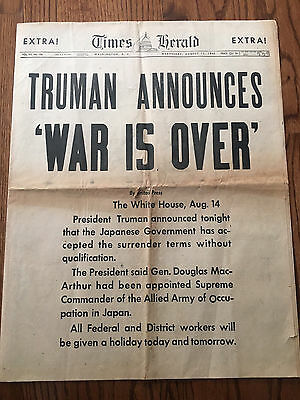 World War 2 is OVER! Original 1945 Newspaper Nazi Japan United States WWII