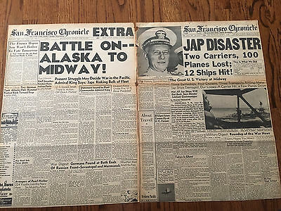GREAT BATTLE OF MIDWAY Japan United States WWII 1942 San Francisco Newspaper