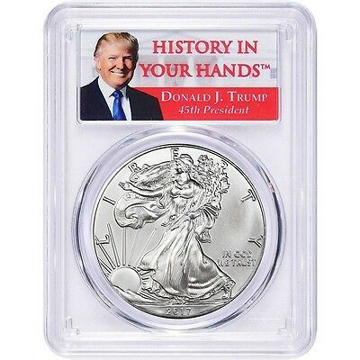 2017 1oz Silver Eagle PCGS MS69 - First Strike - Donald Trump Label