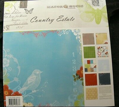 COUNTRY ESTATE Collection Kit 5 x2 Dbl Sided Paper + DieCuts&Cards-12x12 Manor H