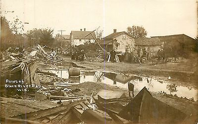 Wisconsin, WI, Black River Falls, Flood Ruins Scene PM 1912 Real Photo Postcard