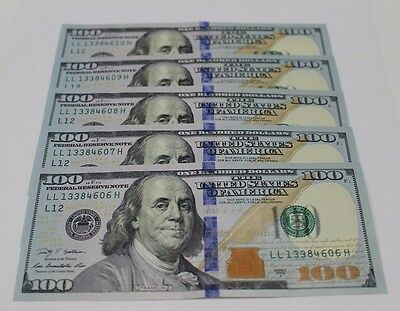 5 New GEM Uncirculated Hundred Dollar Bills Two $100 Notes  2009 A