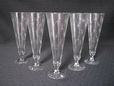 "5) Mid Century Cut Crystal Champagne Flute Glasses ""Starburst"" Atomic Pattern"