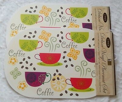 New Set Of 4 Oval Kitchen Coffee Cups Beans Colorful Decor Table Placemats