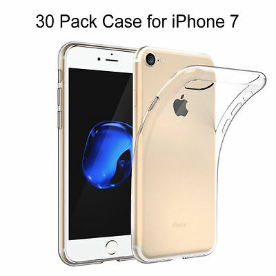 30 Pack Premium Soft Clear Case Shockproof Fitted TPU Skin Cover for iPhone 7