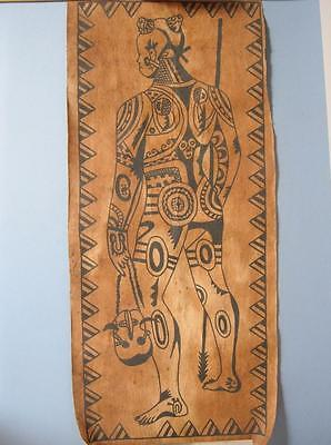 Vintage Original Tapa Painting of a Tattooed Tribesman w/ Mask on parchment