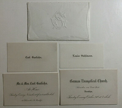 Victorian Calling Cards, German Evangelical Church, Carl Garlichs, Brooklyn NY