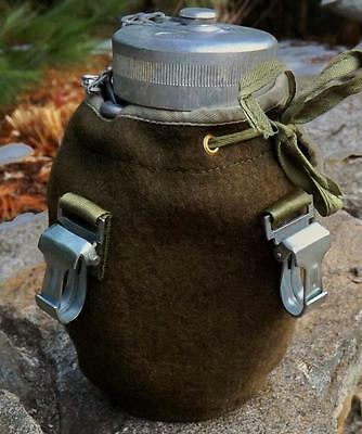 "Poland Military Surplus - Army Men Aluminum Canteen "" Manierka "" w/ Wool Cover"