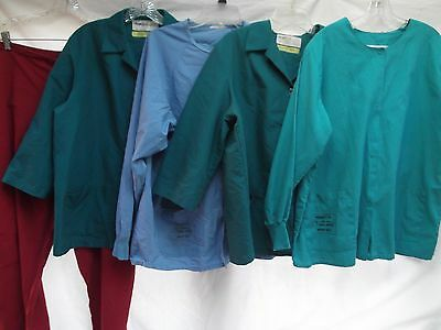 lot of 5 scrubs button snap lab coat top bottoms grn blue Angelica L chest 48""