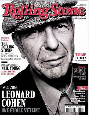Leonard Cohen Rolling Stone French Magazine December 2016 Mag France 18 Pages