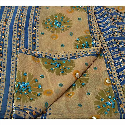 Vintage 100% Pure Georgette Silk Saree Cream Printed Sari Craft Dress Fabric