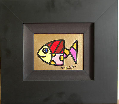 ROMERO BRITTO 15 cm x 20 cm Original Unikat Pop Art Acryl - Golden River!!