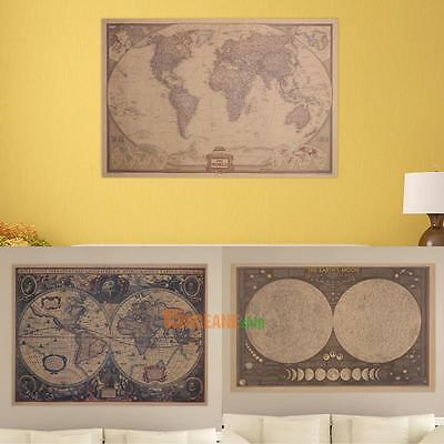 Large Classical Retro Brown Paper Poster Globe Old World Map Home Wall Decor