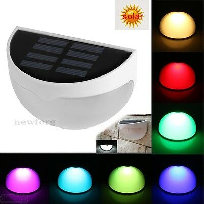 Solar Powered 7-Color Change Wall Mount LED Light Outdoor Garden Landscape Lamp