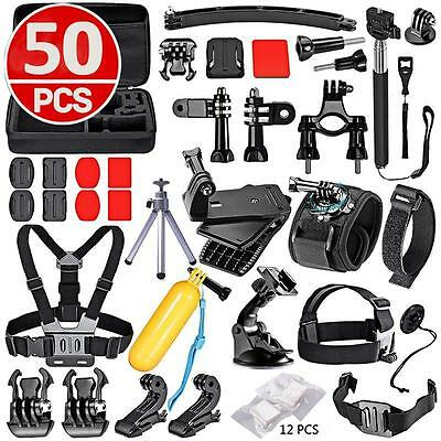 50 in 1 Accessories Set Kit for GoPro Hero 2 3 3+ 4 5 SJCAM Head Chest StrapPole