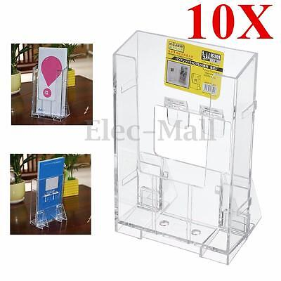 10X Acrylic Business Card Holder Brochure Desk Stand Pamphlet Display 1/3 A4 New