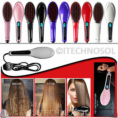 Auto Electric Hair Straightening Hot Professional Brush Comb Irons Lcd Display