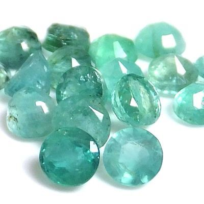 NATURAL LOVELY GREEN EMERALD LOOSE GEMSTONE (2 pcs) ROUND SHAPE (3.5 - 3.7 mm)