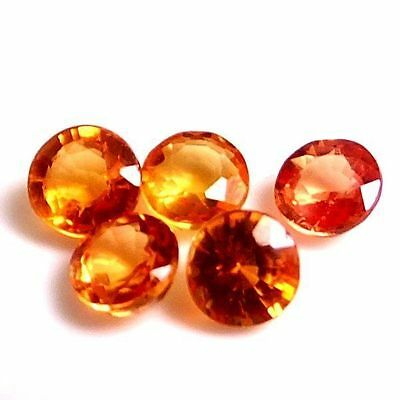 NATURAL REDDISH ORANGE SAPPHIRE GEMSTONES (2.9-3.1 mm) ROUND DIAMOND CUT (3 pcs)