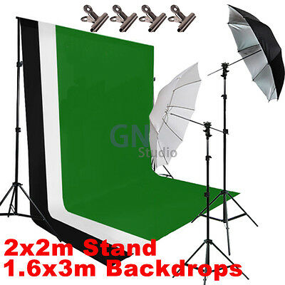 Photography Studio Umbrella Flash Lighting Backdrop Background Support Stand Kit
