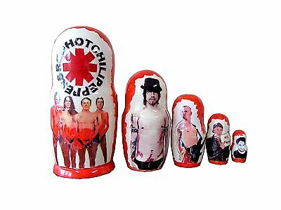 Matryoshka Red Hot Chili Peppers. Hand Made. 5 Piece Nesting Doll