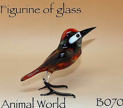NR Woodpecker Glass Figurine, Collectible Handmade Sculpture Blown Bird Miniatur