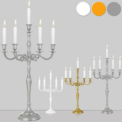 Chandelier bougeoirs 5 branches aluminium nickel décoration bougies photophore