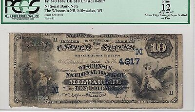 Milwaukee, WI $10 1882 Date Back Fr. 540 The Wisconsin NB Ch. # (M)4817, PCGS