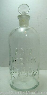 Antique Embossed Glass Acid Poison Bottle Acid Acetic hc2h3o2 Apothecary Lab