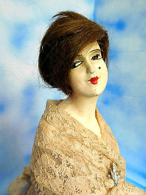 """Antique 15"""" Art Deco Painted Over Metal Half Doll Lamp w/ Cord & Bulb Works!"""