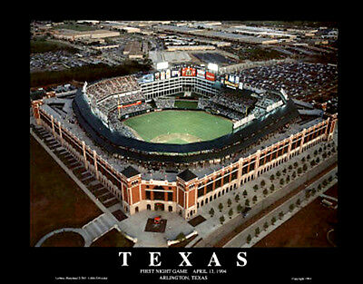 Texas Rangers Ballpark Arlington FIRST NIGHT GAME 1994 Aerial View Poster Print
