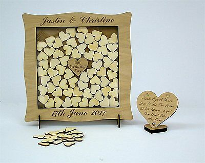 Wedding  Anniversary Guest Book Alternative Drop Box Hearts Personalised Oak sy3