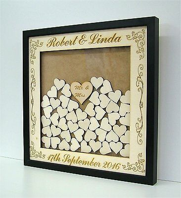 Personalised Wooden / Mirror  Wedding Drop Box Hearts Guest Book Alternative oy9