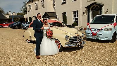 Wedding Car Hire Classic American Chevrolet Stylemaster 1947, Coral & Cream