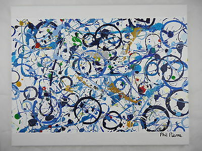 Phil Pierre - BLUE BUBBLES 043 - new original abstract acrylic painting canvas