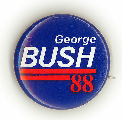 "* Sharp ~ "" GEORGE BUSH  '88 "" ~ 1988 Official Primary Button"