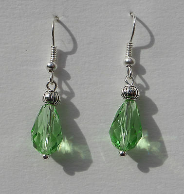 Small Faceted Light Green Glass Drop Earrings With Silver Plated Detail ...hook