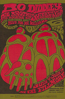 MINT Janis Joplin Bo Diddley Quicksilver 1967 BG 71 Fillmore Poster