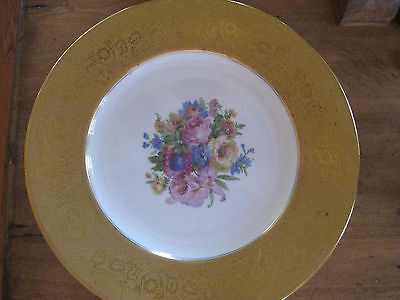 Bavarian Fine China Plate Floral With Gold Trim