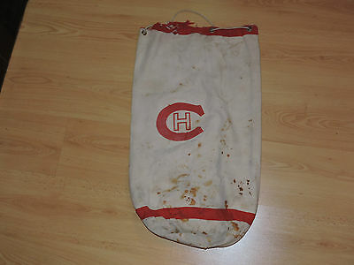 VINTAGE 1960's MONTREAL CANADIENS HOCKEY EQUIPEMENT BAG, WHITE, w/CREST