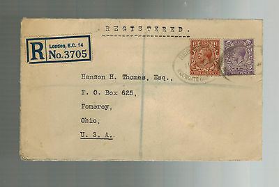 1931 London England Registered Letter Cover to Pomeroy Ohio  USA