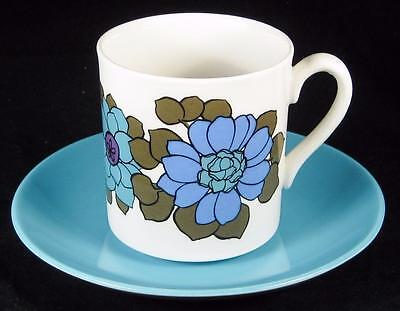 Myott 'Ironstone' Retro Blue & Purple Flowers Cup & Saucer (2 available)