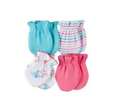 GERBER GIRL 4-Pack Mittens Coral Aqua Birds Size 0-3M; Baby Clothes Shower Gift