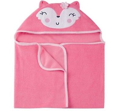 Gerber Baby Girl Terry Hooded Coral Fox Bath Wrap BABY CLOTHES SHOWER GIFT