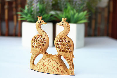 Wooden Peacock Love Birds