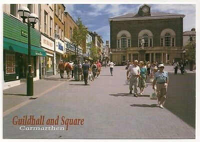 Postcard of Carmarthen - Guildhall & Square - Shops - Hinde