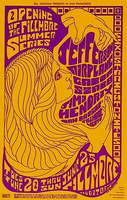 MINT Jimi Hendrix Jefferson Airplane 1967 BG 69 FIRST Fillmore Card