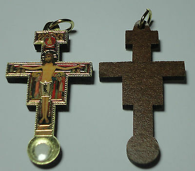 Full Color Wooden San Damiano Crucifix Third Class Relic of St Francis of Assisi