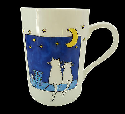 Konitz Germany Night Cats Cat Mouse Moon Coffee Mug Cup 8 oz Ceramic